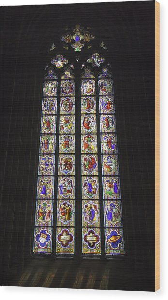 Cologne Cathedral Stained Glass Life Of Christ Wood Print