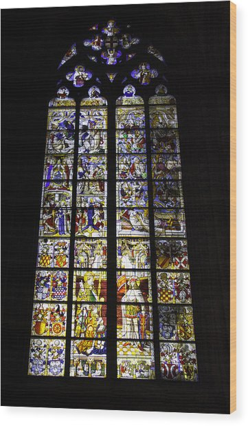 Cologne Cathedral Stained Glass Window Of St Peter And Tree Of Jesse Wood Print