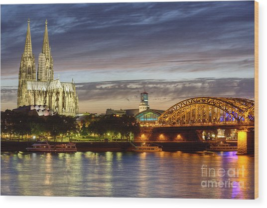 Cologne Cathedral With Rhine Riverside Wood Print