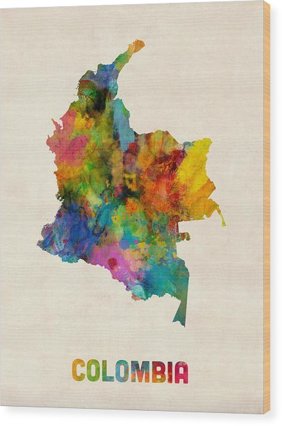 Colombia Watercolor Map Wood Print by Michael Tompsett