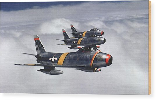 Colonel Ben O. Davis Leads F 86 Sabres Over Korea Upsized Wood Print by L Brown