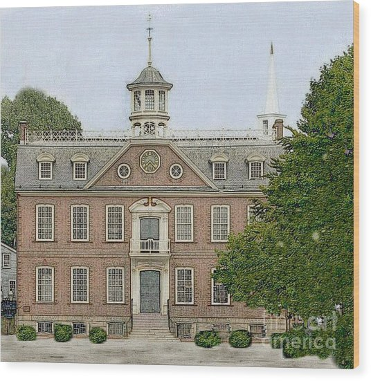 Colonial Court House Newport Rhode Island Wood Print by Diane E Berry