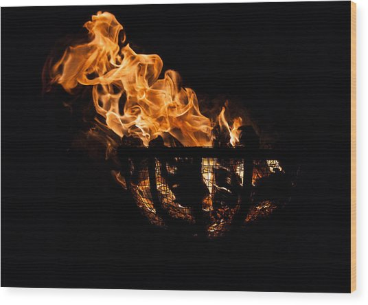 Fire Cresset Two Wood Print