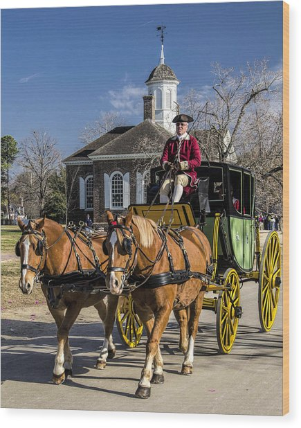 Colonial Transportation Wood Print by Gene Myers
