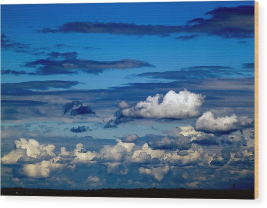 Color Burned Clouds Wood Print
