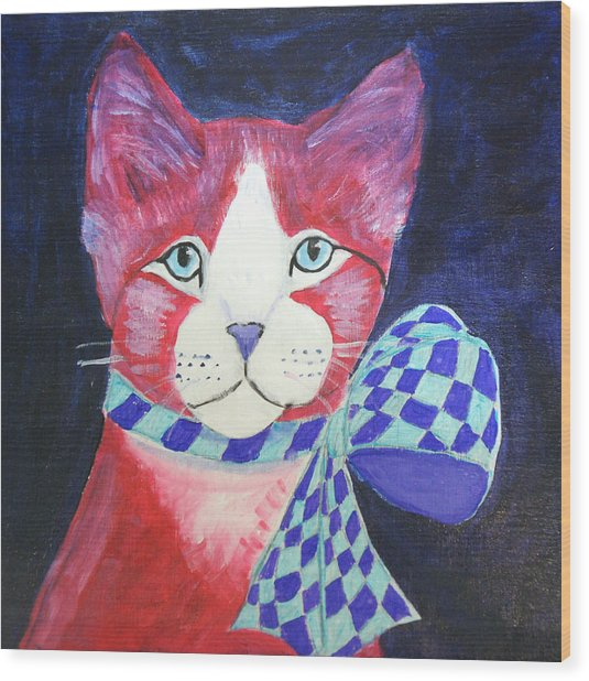 Color Cat 10 Wood Print