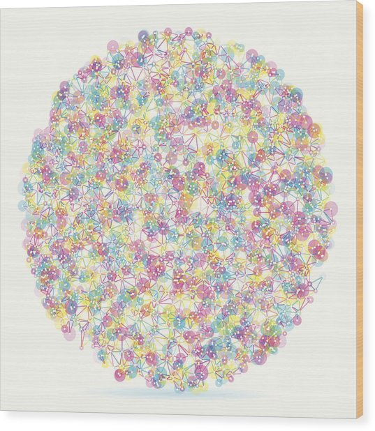 Color Circle Abstract Network Pattern Wood Print by FrankRamspott