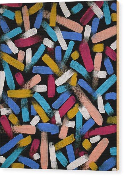 Color Comets Wood Print
