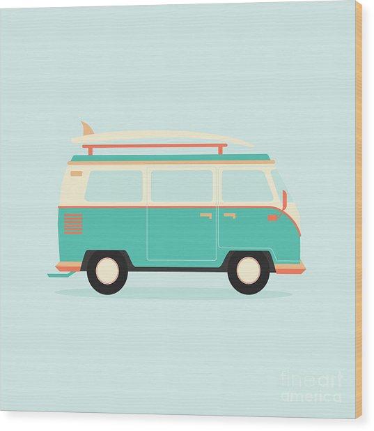 Color Full Surfer Van. Transportation Wood Print