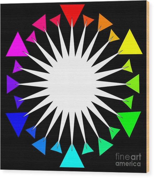 Color Wheel Burst Wood Print