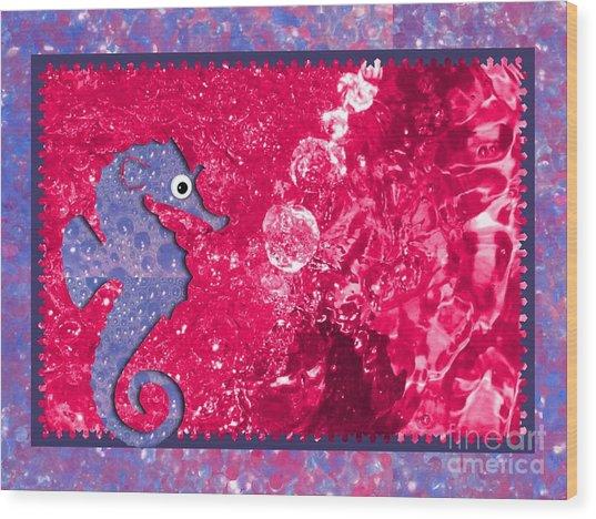 Color Your World Kids Bath Seahorse Wood Print