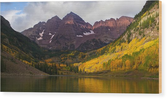 Colorado 14ers The Maroon Bells Wood Print