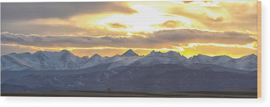 Colorado Front Range Panorama Gold Wood Print