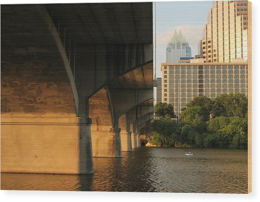 Colorado River Running Under Congress Street Bridge In Austin Texas Wood Print