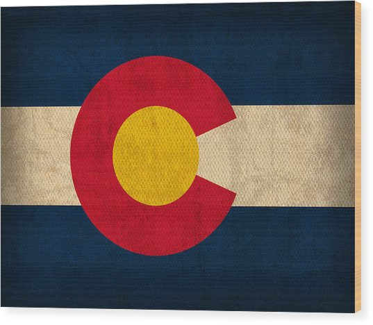 Colorado State Flag Art On Worn Canvas Wood Print