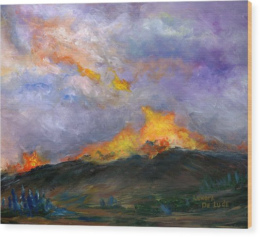 Colorado Wild Fire Wood Print