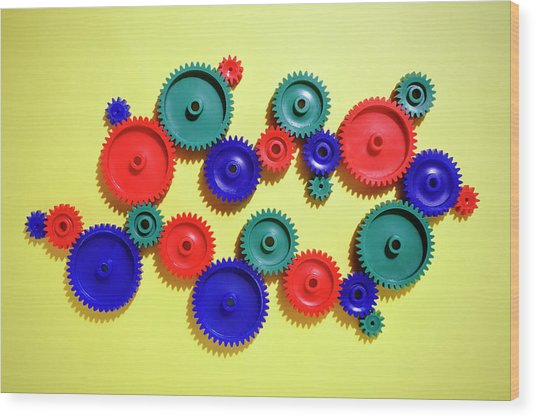 Colored Gears Wood Print by Joseph Clark