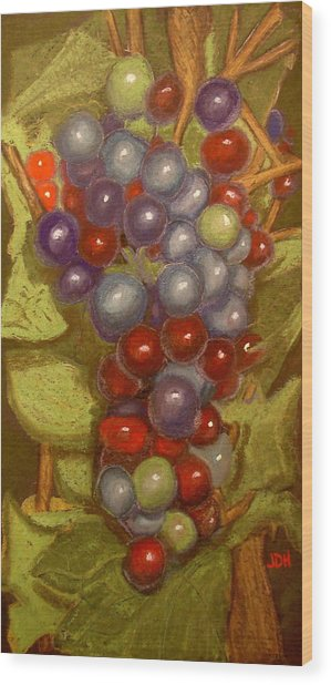 Colored Grapes Wood Print