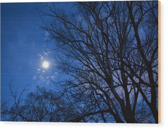 Colored Hues Of A Full Moon Wood Print by Bill Helman