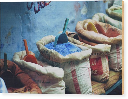Colored Powders For Textile Dyes On Wood Print by Valeria Schettino
