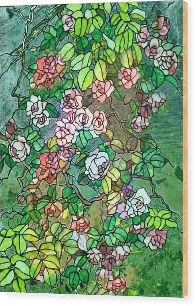 Colored Rose Garden Wood Print