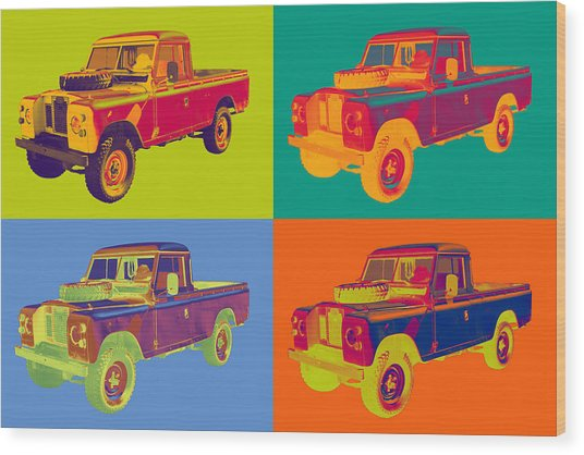Colorful 1971 Land Rover Pick Up Truck Pop Art Wood Print