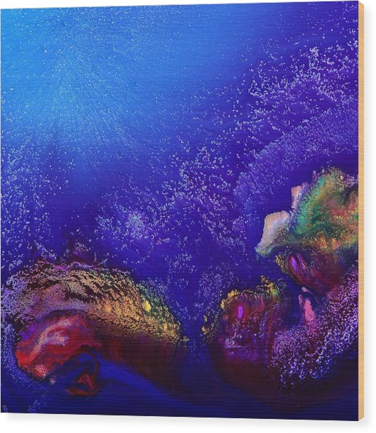 Colorful Abstract Art-vivid Fluid Painting Life Below By Kredart Wood Print