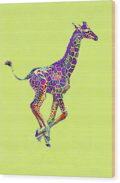Colorful Baby Giraffe Wood Print