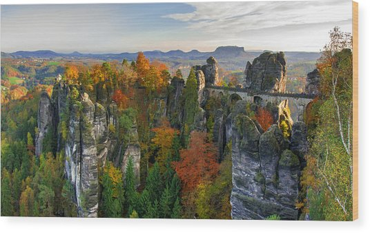 Colorful Bastei Bridge In The Saxon Switzerland Wood Print