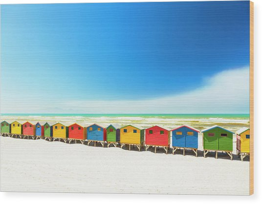 Colorful Beach Houses In Muizenberg Wood Print by Spooh