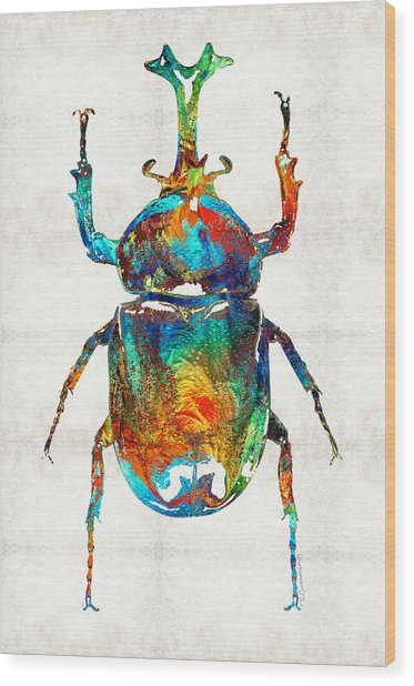 Colorful Beetle Art - Scarab Beauty - By Sharon Cummings Wood Print