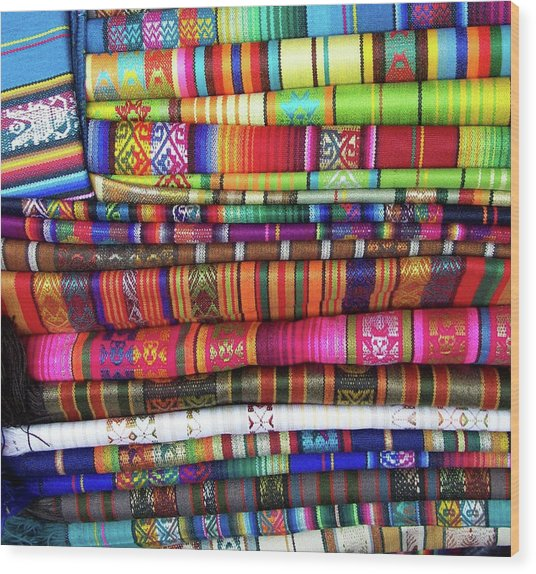 Colorful Blankets At Indigenous Market Wood Print