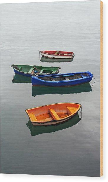 colorful boats on Santurtzi Wood Print