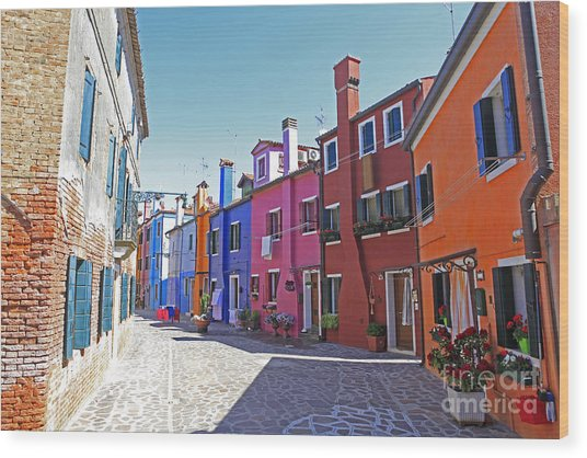 Colorful Burano Wood Print by Ernst Cerjak