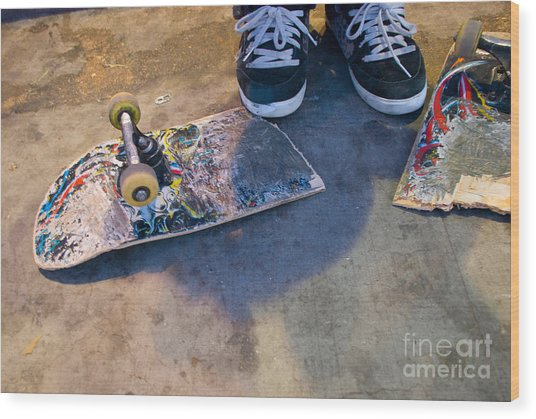 Colorful Busted Skateboard With Shoes  Wood Print