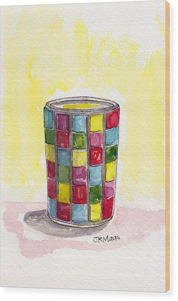 Colorful Candleholder Wood Print