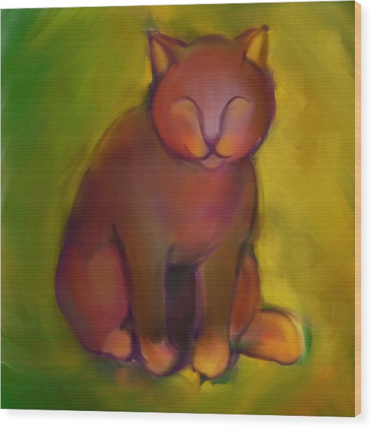 Colorful Cat 2 Wood Print by Anna Gora