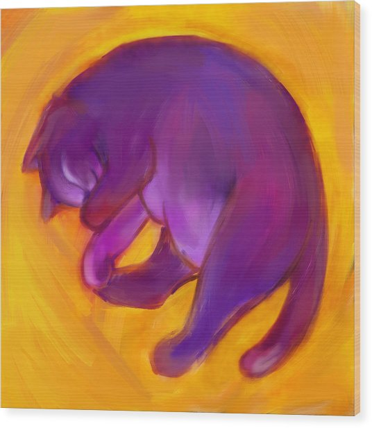 Colorful Cat 5 Wood Print by Anna Gora