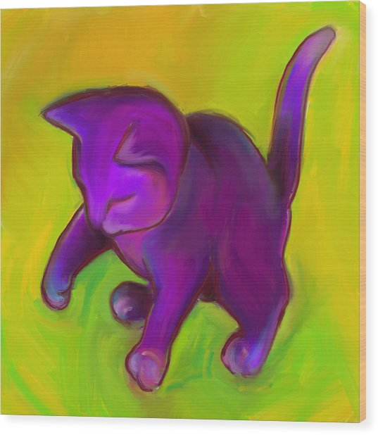 Colorful Cat 7 Wood Print by Anna Gora