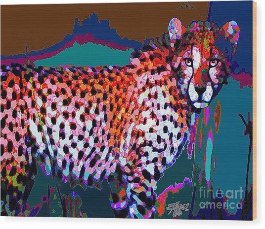 Colorful Cheetah Wood Print