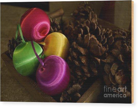 Colorful Christmas Balls Wood Print