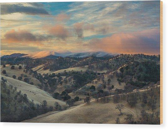 Colorful Clouds At Sunrise Wood Print