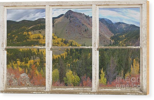 Colorful Colorado Rustic Window View Wood Print