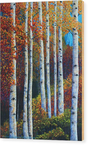 Colorful Colordo Aspens Wood Print