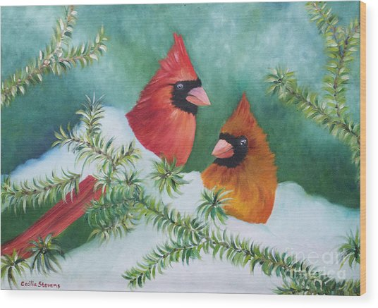 Colorful Companions Wood Print by Cecilia Stevens