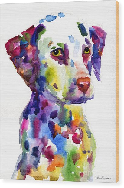 Colorful Dalmatian Puppy Dog Portrait Art Wood Print