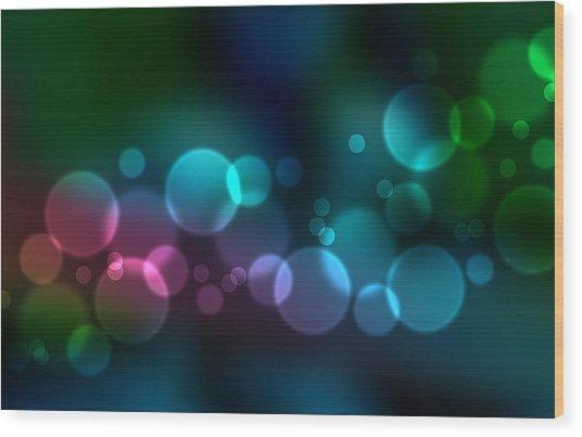 Colorful Defocused Lights Wood Print