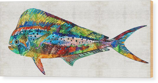 Colorful Dolphin Fish By Sharon Cummings Wood Print