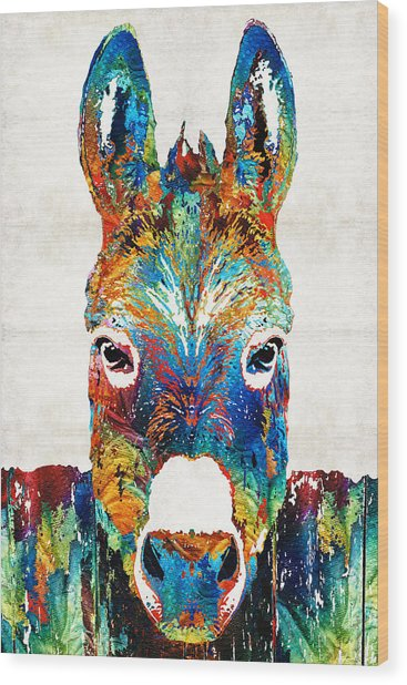 Colorful Donkey Art - Mr. Personality - By Sharon Cummings Wood Print
