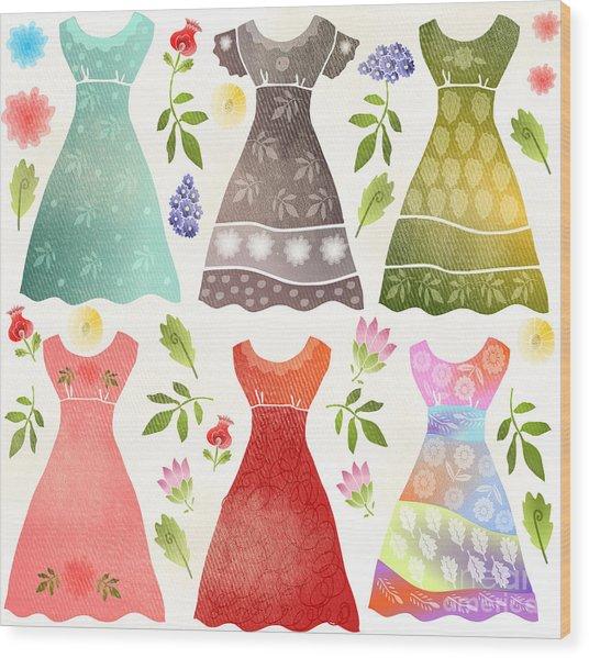 Colorful Dresses Wood Print by Elaine Jackson